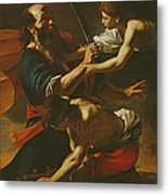The Sacrifice Of Isaac, 1613 Oil On Canvas Metal Print
