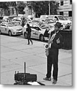 The Saxman In Black And White Metal Print