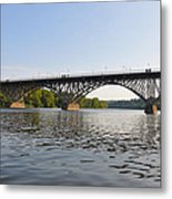 The Schuylkill River And Strawbery Mansion Bridge Metal Print by Bill Cannon
