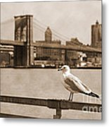 The Seagull Of The Brooklyn Bridge Vintage Look Metal Print