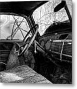 The Seat Of An Old Truck In Black And White Metal Print
