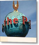 The Seattle Pi Globe Sign Metal Print by Kym Backland