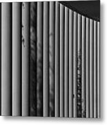 The Shadows And Pillars  Black And White Metal Print