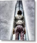 The Shard And Man Statue Metal Print