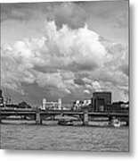 The Shard And Thames View Black And White Version Metal Print