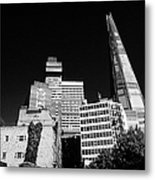 the shard building towering over local buildings including guys hospital in southwark London England Metal Print