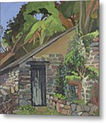 The Shed, Clovelly Oil On Board Metal Print