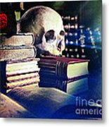 The Skull The Spell Book And The Rose Metal Print