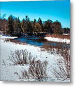 The Snowy Moose River - Old Forge New York Metal Print