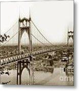 The St. Johns Bridge Is A Steel Suspension Bridge That Spans The Willamette River Metal Print