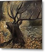 the Stag sitting in the grass oil painting Metal Print