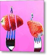 The Star On Strawberry Miniature Art Metal Print