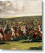 The Start Of The Memorable Derby Of 1844 Metal Print by Charles Hunt