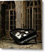 The Stone Sphere And Broken Grand Piano Metal Print