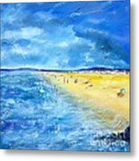 The Storm Arrives At The Beach Metal Print