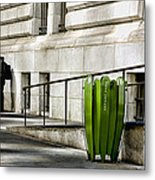 The Story Of Him Waiting And A Green Trashcan Metal Print