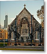The Stranger's Church And Willis Tower Metal Print