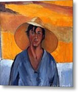 The Straw Hat - After Nikolaos Lytras Metal Print by Kostas Koutsoukanidis
