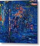 The Street Cafe Oil On Canvas Metal Print