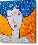 The Strength Of Grace Expressionist Girl Portrait Metal Print by Ana Maria Edulescu