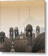 The Suleymaniye Mosque And New Mosque In The Backround Metal Print