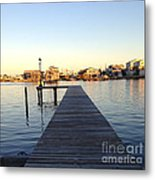 The Sun Begins To Set On Long Beach Island Metal Print