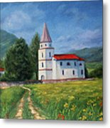 The Sunny Road Landscape With Field And Church Metal Print