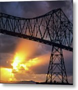 The Sun Sets Below The Astoria-megler Metal Print