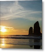 The Sunset With Silhouettes Of Rock Metal Print