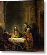 The Supper At Emmaus, 1648 Oil On Panel Metal Print