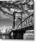 The Suspension Bridge Bw Metal Print