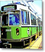 The T Trolley Car Boston Massachusetts 1990 Poster Metal Print