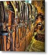The Tack Room - Equestrian Metal Print by Lee Dos Santos