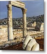 The Temple Of Hercules And Sculpture Of A Hand In The Citadel Amman Jordan Metal Print