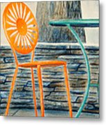 The Terrace Chair Metal Print