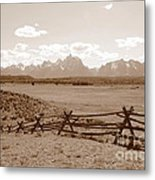 The Tetons In Sepia Metal Print