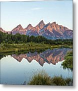 The Tetons Reflected On Schwabachers Landing - Grand Teton National Park Wyoming Metal Print