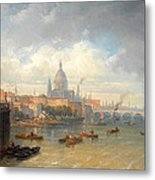 The Thames With Somerset House And St Pauls Cathedral Metal Print