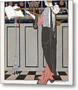 The Theorbo Player Metal Print by Georges Barbier