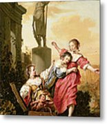 The Three Daughters Of Cecrops Discovering Erichthonius Metal Print