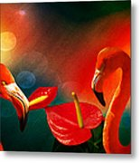 The Three Flamingos - Featured In 'feathers And Beaks' 'wildlife' And 'comfortable Art'  Groups Metal Print