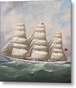 The Three-master Hahnemann In Full Sail Off A Headland Metal Print