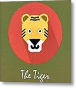 The Tiger Cute Portrait Metal Print