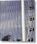 The Top Section Of The Marina Bay Sands As Seen Through The Spokes Of The Singapore Flyer Metal Print