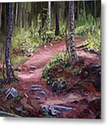 The Trail Series - Sunlight In The Wood Metal Print