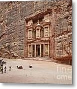 the treasury Nabataean ancient town Petra Metal Print by Juergen Ritterbach
