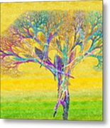 The Tree In Spring At Midday - Painterly - Abstract - Fractal Art Metal Print by Andee Design