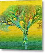 The Tree In Summer At Sunrise - Painterly - Abstract - Fractal Art Metal Print