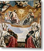 The Trinity Adored By The Duke Of Mantua And His Family Metal Print