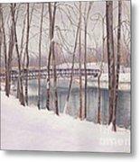 The Tulip Tree Bridge In Winter Metal Print by Elizabeth Dobbs